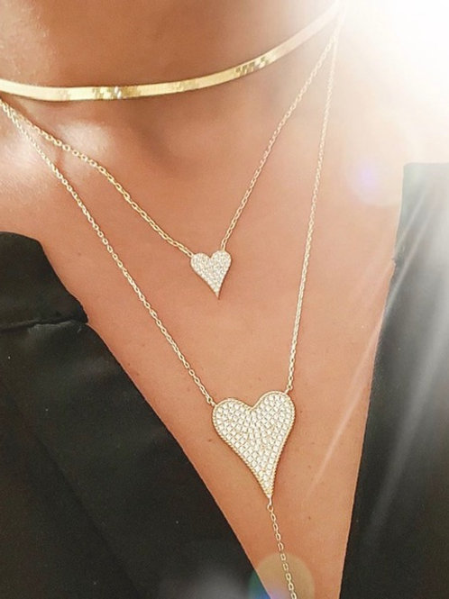 Heart Necklace with CZ   CHOKER SOLD SEPARATELY