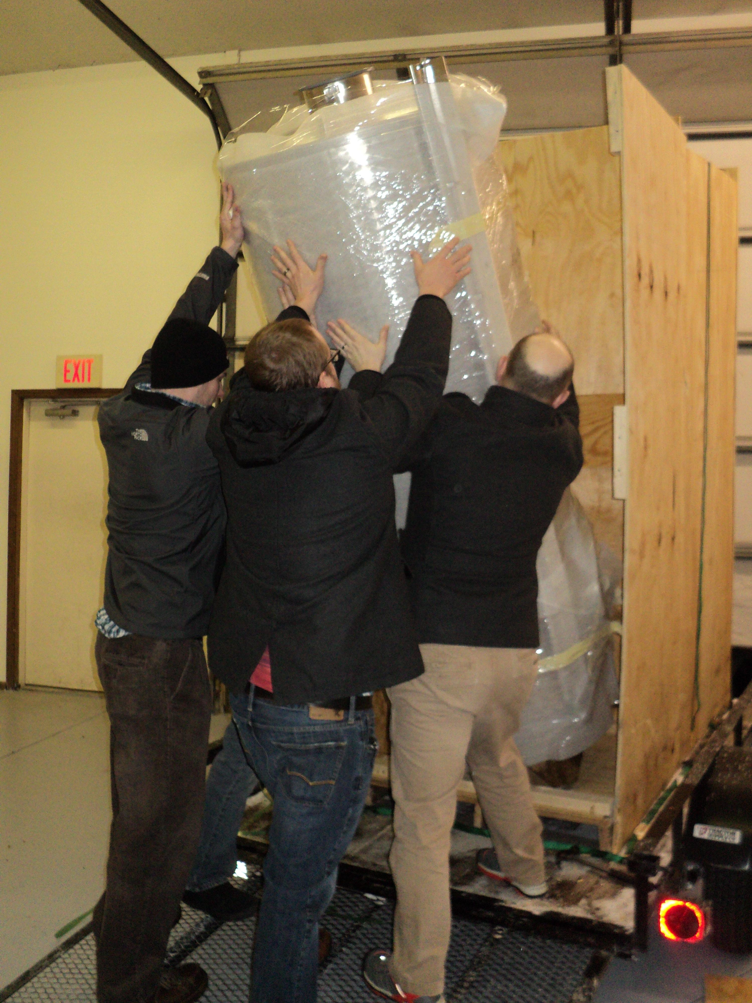 Uncrating the new fermentors