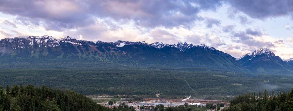 Dogtooth Range and Town of Golden view from Rocky Mountain Adventure Park
