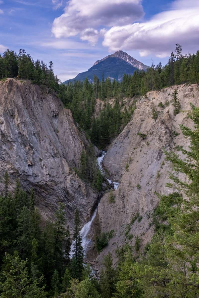 Hospital Creek waterfall and Mt Moberly in Golden BC at Rocky Mountain Adventure Park