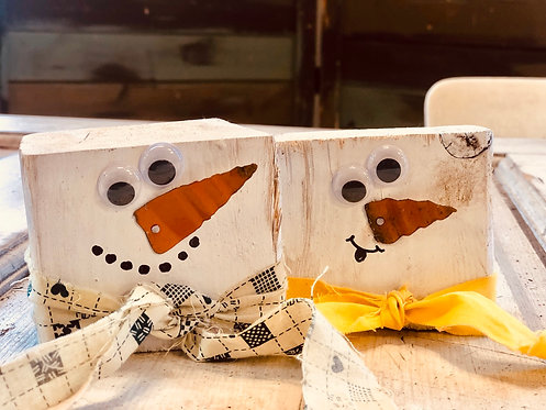 DIY Block Snowman