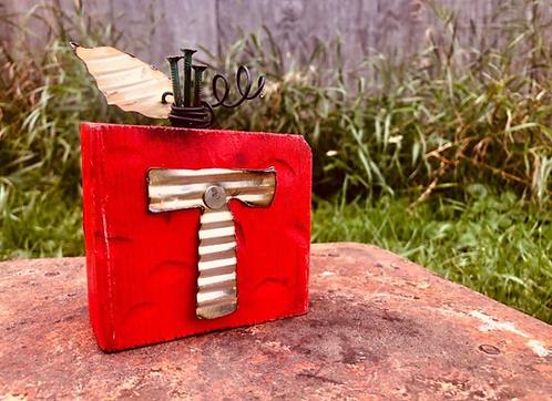 Wood w/ Metal Letter