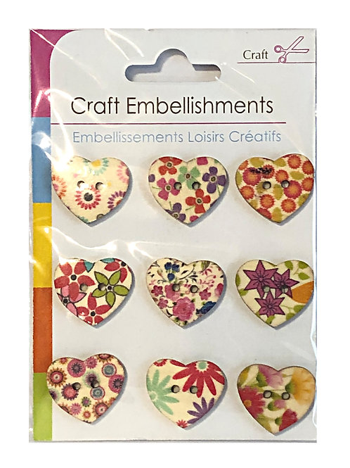 Floral Heart Craft Buttons