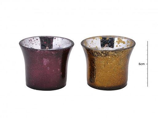 Candle Holder Metallic Glass Gold Purple 2 Asst