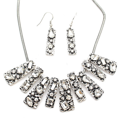 Embossed Statement Necklace and Earrings Set