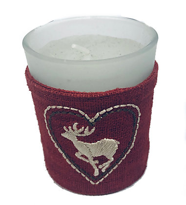 Candle in Glass Pot Stag