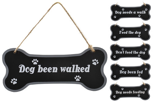 Wood dog bone plaque