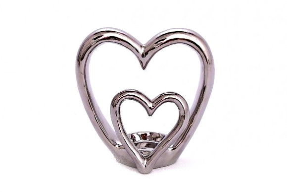 Candle Holder Ceramic Heart Silver Metallic Double 1 Tlite