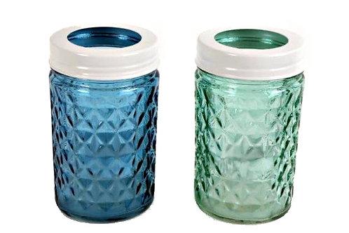 Candle Holder Glass Jar Blue Aqua 1 Tlite