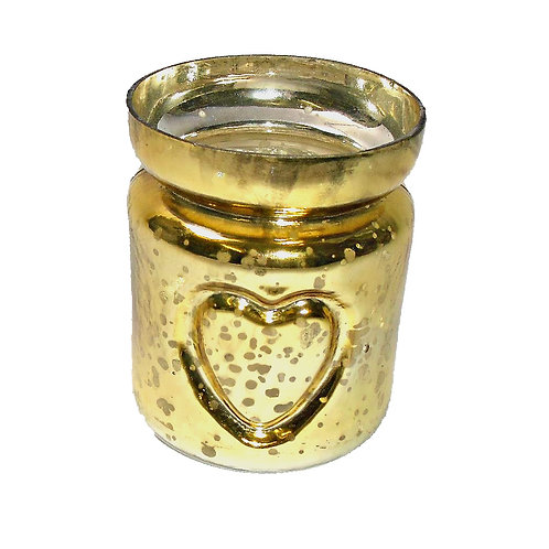 Candle Holder Glass Cup Gold Metallic Heart T-Lite