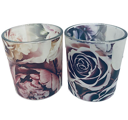 Candle Holder Glass Cup Floral Purple Pink