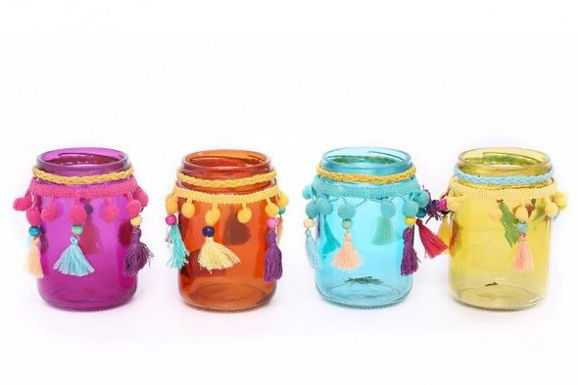 Candle Holder Glass Jam Jar Pot Pom Pom Beads Tassle Pink Orange Blue Yellow