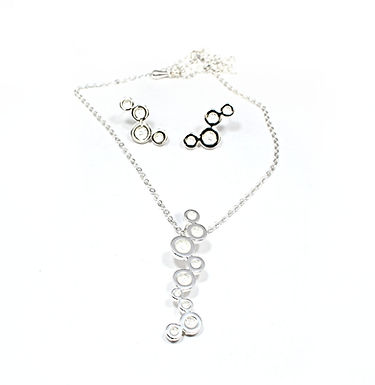 Circle Cluster Necklace & Earring Set