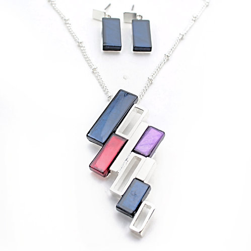 Geometric Necklace And Earrings Set