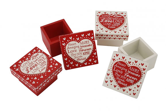 Red or White Wooden Motto Box