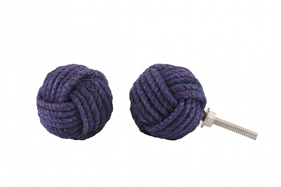 Blue Rope Knot Drawer Pull
