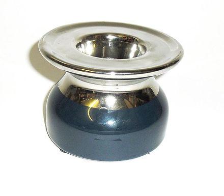 Candle Holder Ceramic Blue Silver 1 Tlite