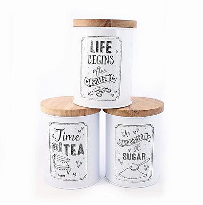White Motto Storage Jar