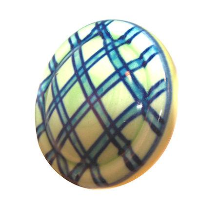 Round Ceramic Check Drawer Pull