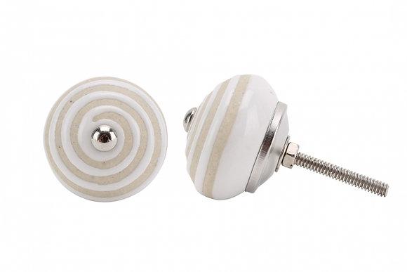 Round Ceramic White Painted Drawer Pull