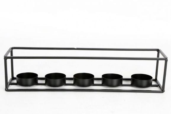 Candle Holder Metal Black 5 T Lites Open Box Rectangle