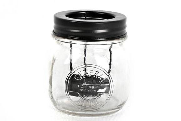 Candle Holder Glass Pot Embossed Screw Lid Black
