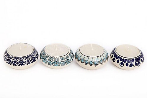 Candle Holder 1 Tlite Ceramic Painted Blue Cream Turquoise in assorted designs