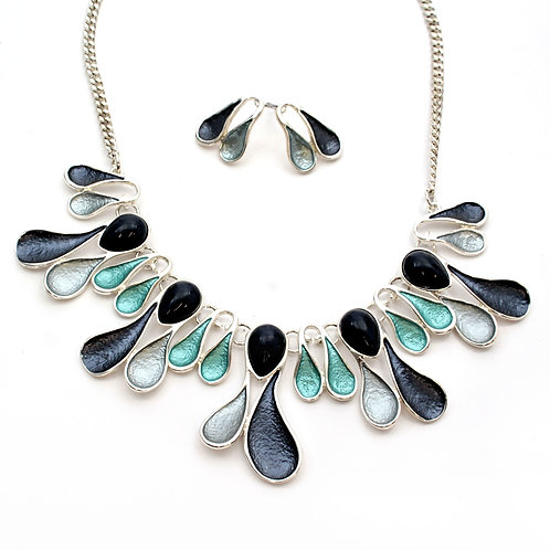 Blue Grey Necklace and Earring set