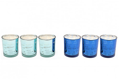 3 Candles In Glass Pot