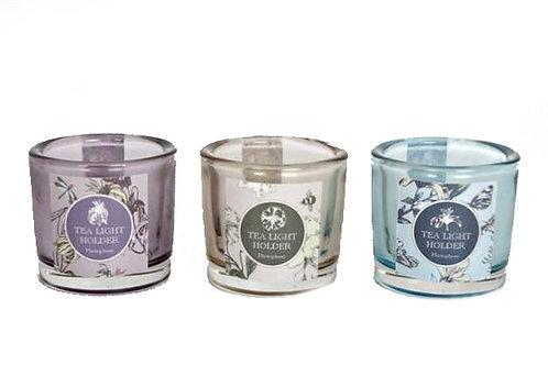 Candle Holder Glass Pot Pastel Purple Brown Blue
