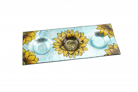 Candle Holder Glass Painted Sunflower Blue Yellow 3 Tlite