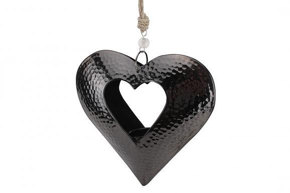 Candle Holder Metal Beaten Black Dark Grey Heart Open Hanging