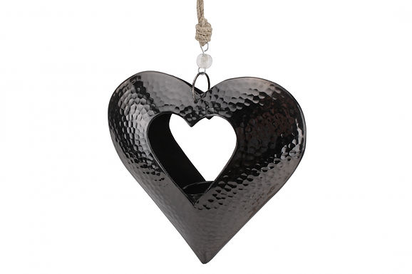 Candle Holder Metal Beaten Black Dark Grey Heart Open Hanging