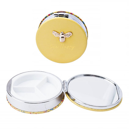 Bee Pill Box with Mirror