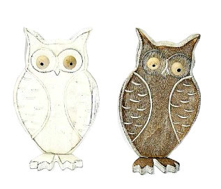Standing Wooden Owl Decoration