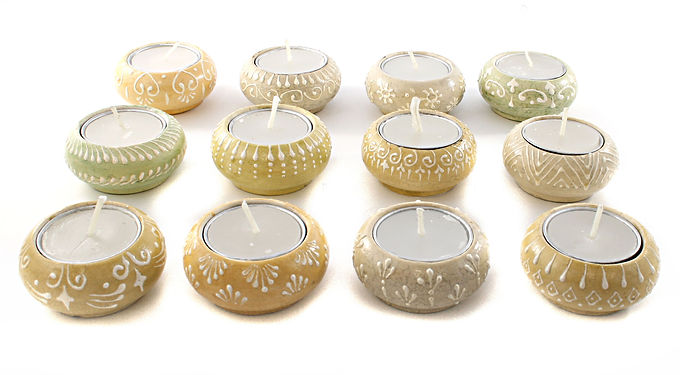 Candle Holder 1 Tlite Ceramic Painted Cream Beige Green Round