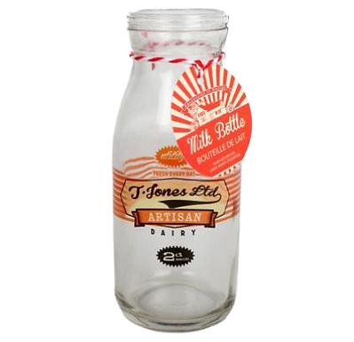 Retro Glass Milk Bottle