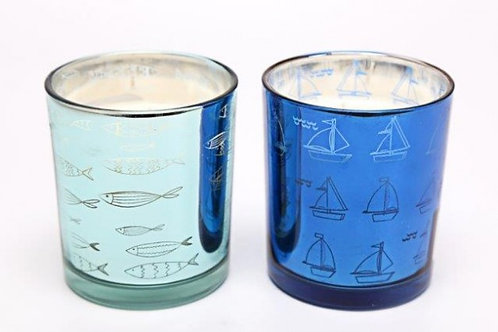 Candle In Metallic Pot