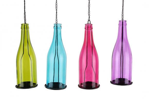 Candle Holder Bottle Glass Metal Hanging 1 Tlite