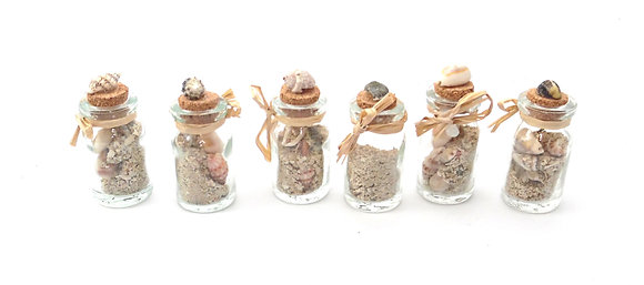 Tiny Bottle with Shells and Sand
