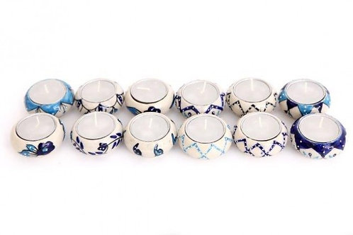 Candle Holder 1 Tlite Ceramic Painted Turquoise Blue White Crackle Round 12 Asst