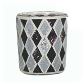 Candle Holder Glass Cup Mosaic Diamond Black Silver