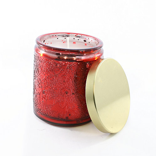 Candle in Large Red Glass Pot
