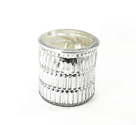 Candle in Silver Embossed Pot