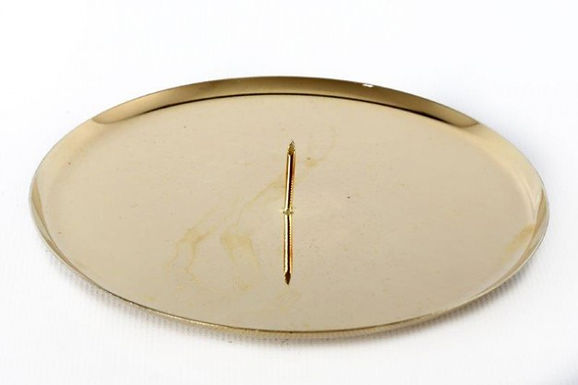 Candle Holder Plate 1 Spike Gold 12 Cm