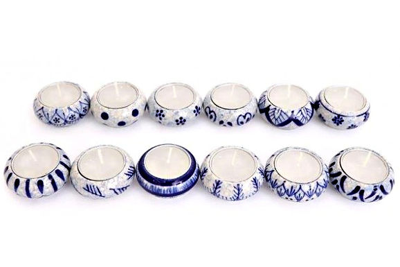 Candle Holder 1 Tlite Ceramic Painted Blue White Crackle Round 12 Asst