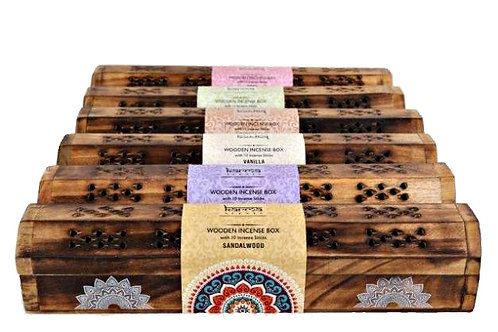 10 Incense Sticks In Wooden Box with Holder