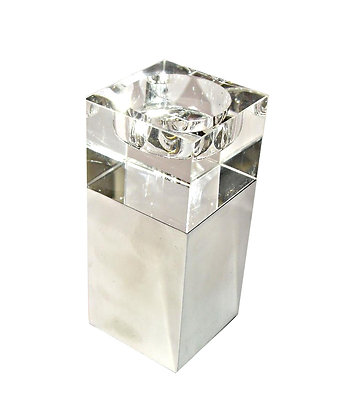 Candle Holder Tall Square Metal Acrylic White Clear Small