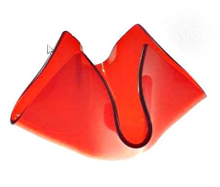 Candle Holder Glass Folded Flower Shape Red