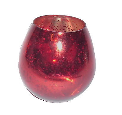 Candle Holder Glass Metallic Red Round 1 Cup T-Lite